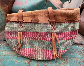 Vintage Faded Pink Beige Green Sisal Straw Tote with Leather Top Extender and Strap (Stained)