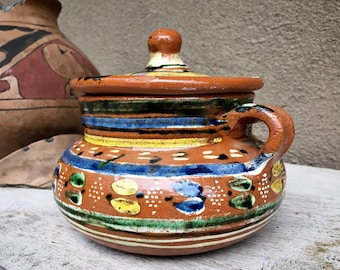 1940s Oaxaca Drip Pottery Small Lidded Jar, Vintage Clay Pot with Top, Collectible Tlaquepaque