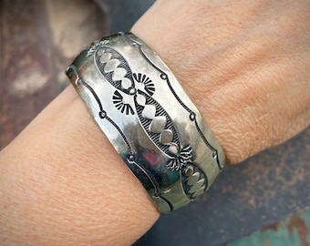 Vintage Wide Stamped German Silver Cuff Bracelet Unisex, Affordable Jewelry for Men or Women