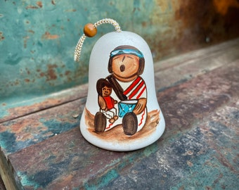 Small Southwestern Pottery Bell Chime Hanging or Ornament for Christmas Tree, Pueblo Pottery