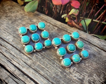 Turquoise Cluster Earrings Signed Navajo Jewelry, Native American Indian Jewelry, Silver Anniversary