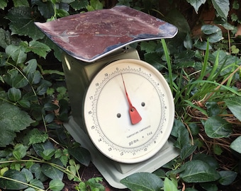 1950s Chippy Green Kitchen Scale Farmhouse Decor, Rusty Metal Scale, Cottage Chic, Industrial Home