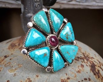 Size 10.25 Cluster Ring Blue Turquoise and Purple Spiny Oyster, Native American Indian Jewelry