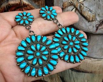 Turquoise Cluster Dangle Earrings Native American Indian Jewelry, Vintage Turquoise Jewelry Gift