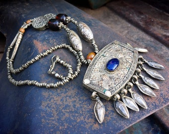 Turkoman Teke Silver Tone Pendant with Lapis Lazuli Stone and Amulets, Tribal Ethnic Jewelry