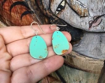 Thin Slab Turquoise Earrings Native American Indian Jewelry, Santo Domingo Pueblo