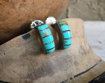 Small Turquoise Inlay Post Earrings for Women, Zuni Style Native American Indian Jewelry Southwest