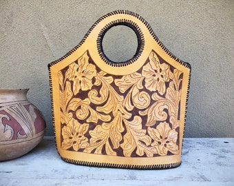Vintage Tooled Leather Bag with Arm Hole Alejandro Yeo Style Western Purse, Cowgirl Coutre