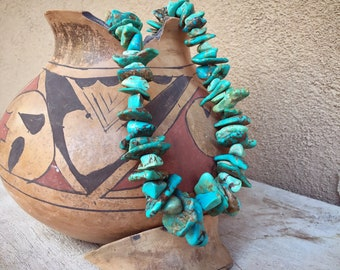 "1980s Chunky Turquoise Short Necklace 21"" (One Broken Nugget), Southwestern Navajo Native Style"