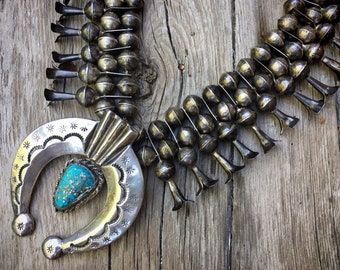 235g 1970s Heavy Silver Squash Blossom with Morenci Turquoise, Navajo Native American Indian Jewelry