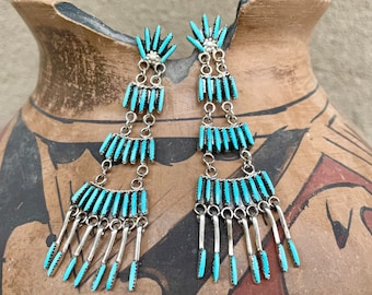 """Zuni Chandelier Earrings 3"""" Sterling Silver Turquoise Needlepoint Setting, Native American Jewelry"""