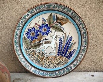 "Signed Ken Edwards Pottery 10"" Plate with White Deer and Flor of Tonala Design, Southwestern Decor"