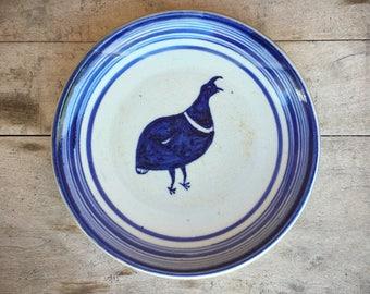 "Vintage 13"" heavy art studio stoneware platter with blue quail ceramic plates rustic home decor"