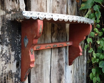 Small Vintage Wood Wall Shelf with Tin and Milagro Accents, Rustic Southwestern Home Decor