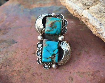 Size 8 Vintage Turquoise Ring for Women, Native American Indian Jewelry, Southwestern Style