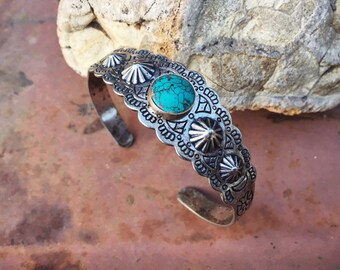 Fred Harvey Era German Silver Faux Turquoise Souvenir Bracelet, Southwest Jewelry Native American Style