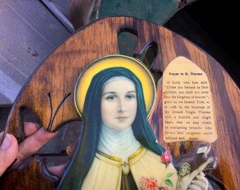 Vintage Decoupage Saint Therese with Prayer on Wood Slice Board Wall Decor, Gift Catholic Art