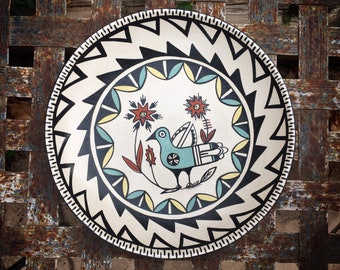 Vintage Reyes Madalena Jemez Pueblo NM VPainted Ceramic Plate with Bird Design, Southwest Pottery