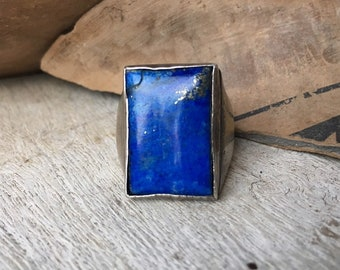 Vintage Lapis Lazuli Sterling Silver Ring for Women Men Size 6.75, Navajo Native American Indian Jewelry