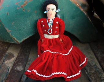Navajo Doll with Red Velvet Blouse and Skirt (Some Wear), Native American Handmade Folk Art