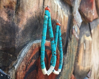 Vintage Turquoise Hoop Earrings Large with White Shell Coral, Native American Indian Jewelry