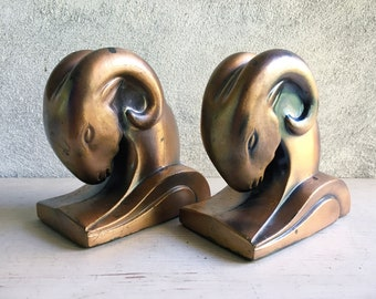 1930s Art Deco Ram's Head Bookends by Cornell Foundry Copper Finish, Vintage Library, Men's Gift