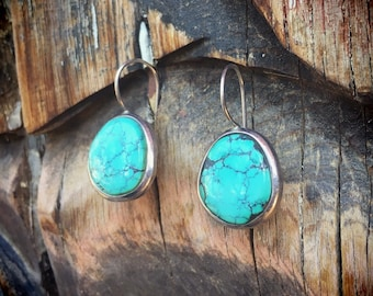 Simple Turquoise Earrings for Women, Sterling Silver Turquoise Round Earrings, Bohemian Jewelry