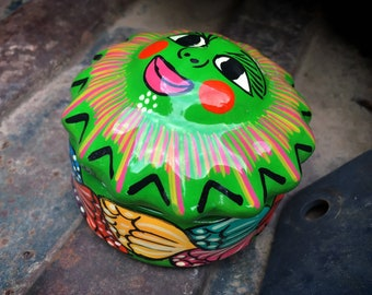 Small Colorful Guerrero Mexican Pottery Sun Face Trinket Box or Lidded Container, Colorful Decor