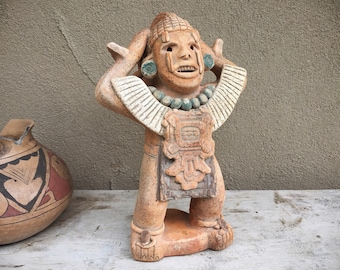 Vintage Mexican Folk Art Pre-Colombian Reproduction Statue Mayan or Aztec Warrior or God