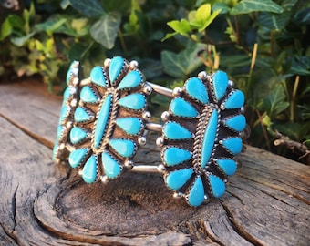 Zuni Petit Point Turquoise Cluster Cuff Bracelet for Woman or Men, Native American Indian Jewelry
