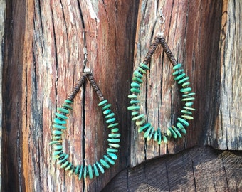 Chip Turquoise Hoop Earrings Native American Indian Turquoise Jewelry Boho Hippie Style