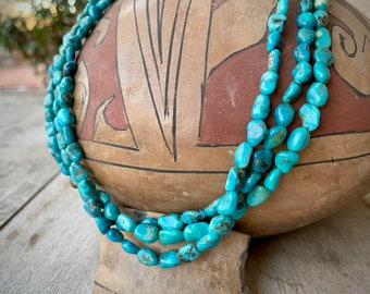 "Three Strand Turquoise Nugget Choker Necklace 18"" Authentic Turquoise Southwestern Jewelry Chunky"