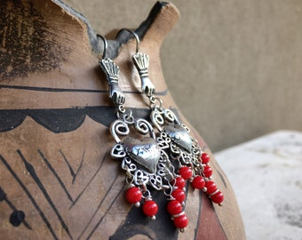Mexican Silver Earrings Hand with Sacred Heart and Red Beads, Oaxaca Mexico Jewelry Frida Style