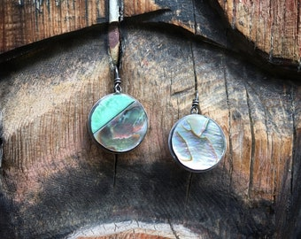 Round Turquoise Abalone Shell Earrings for Women, Contemporary Southwestern Sterling Silver Jewelry