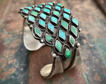 1930s 1940s Zuni Turquoise Cuff Bracelet Unisex, Vintage Native American Indian Jewelry Men Women