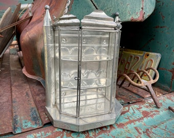 Vintage Mexican Tin and Glass Curio Cabinet Hanging or Tabletop, Three Tier Glass Display Case