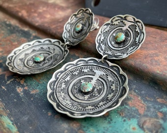 Large Sterling Silver Concho Turquoise Earrings for Women, Navajo Native America Indian Jewelry