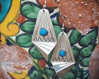 Big Silver and Turquoise Earrings for Women 1980s Southwestern Fashion, Native American Indian Jewelry