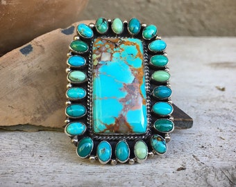 Huge Navajo Turquoise Cluster Ring for Women Size 7.75, Signed Zuni Navajo Native American Indian Jewelry