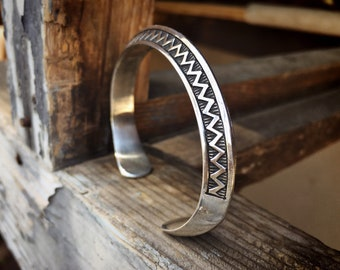 35g Carinated Sterling Silver Cuff Bracelet for Women Men, Navajo Native American Indian Jewelry