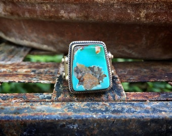 Matrixed Turquoise Sterling Silver Ring Size 7.5, Navajo Bernice Spencer Native American Jewelry