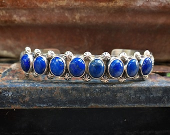 Navajo Paul Livingston Sterling Silver Lapis Lazuli Row Bracelet, Native American Indian Jewelry, Blue Stone Healing Gemstone, Gift for Wife