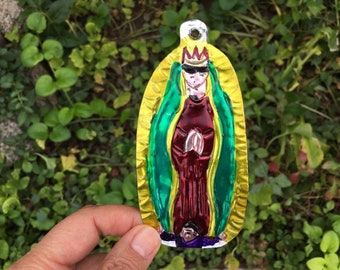 Vintage Virgen de Guadalupe Tin Ornament Mexican Christmas Our Lady of Guadalupe