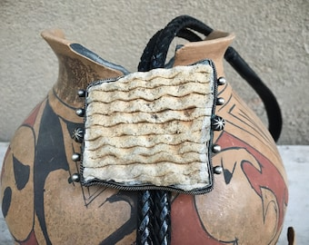 Sterling Silver Corrugated Pottery Shard Bolo Tie for Men, Unusual Gift for Dad Grandfather