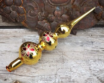 Vintage Mercury Glass Tree Topper for Christmas Gold with Green and Red Finial Tree Topper