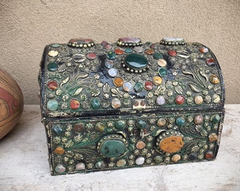 Vintage Gemstone Encrusted Humpback Chest (Broken Clasp) Turkish Ottoman Style Black Lacquer Jewelry Box