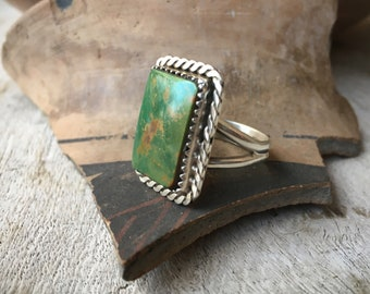 Size 8.75 Green Turquoise Ring for Women or Men, Southwestern Jewelry, Real Turquoise Native American Indian Navajo Ring