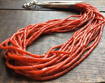 Vintage 16-Strand Mediterranean Coral Heishi Bead Necklace, Native American Indian Jewelry