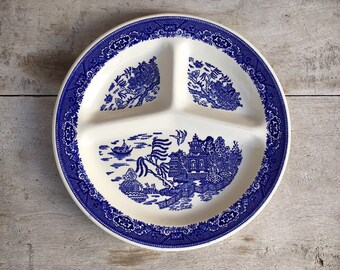 Vintage Willow Ware Royal China Divided Grill Plate Blue and White Porcelain Transferware