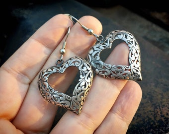 Sterling Silver Filigree Heart Dangle Earrings for Women, Estate Jewelry, Affordable Gift for Her